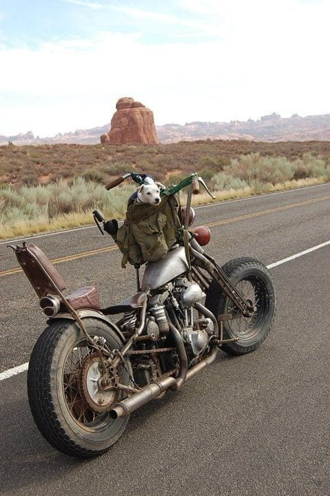 rusty motorcycle on the road