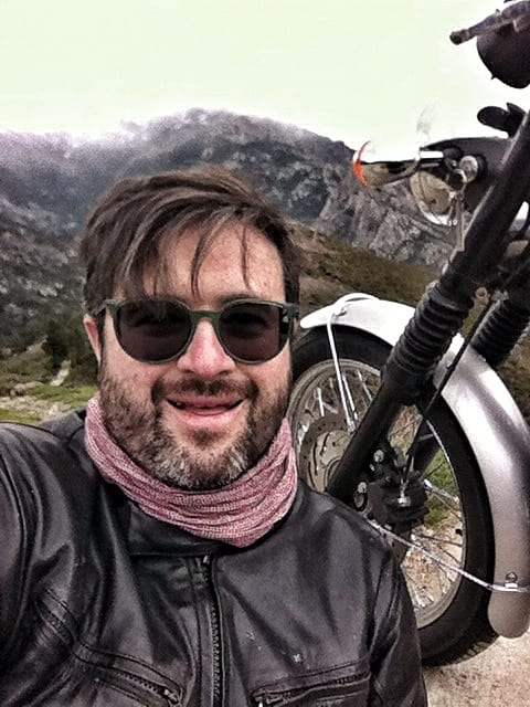 corsica in moto motoreetto selfie with bonneville
