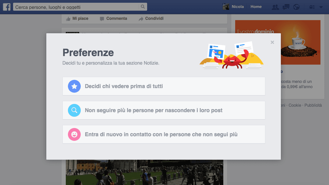 facebook preferenze notizie motoreetto
